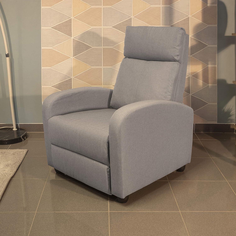 Homely Sillón Relax Shine con Sistema de Relax Manual tapizado Tela Beige Piedra