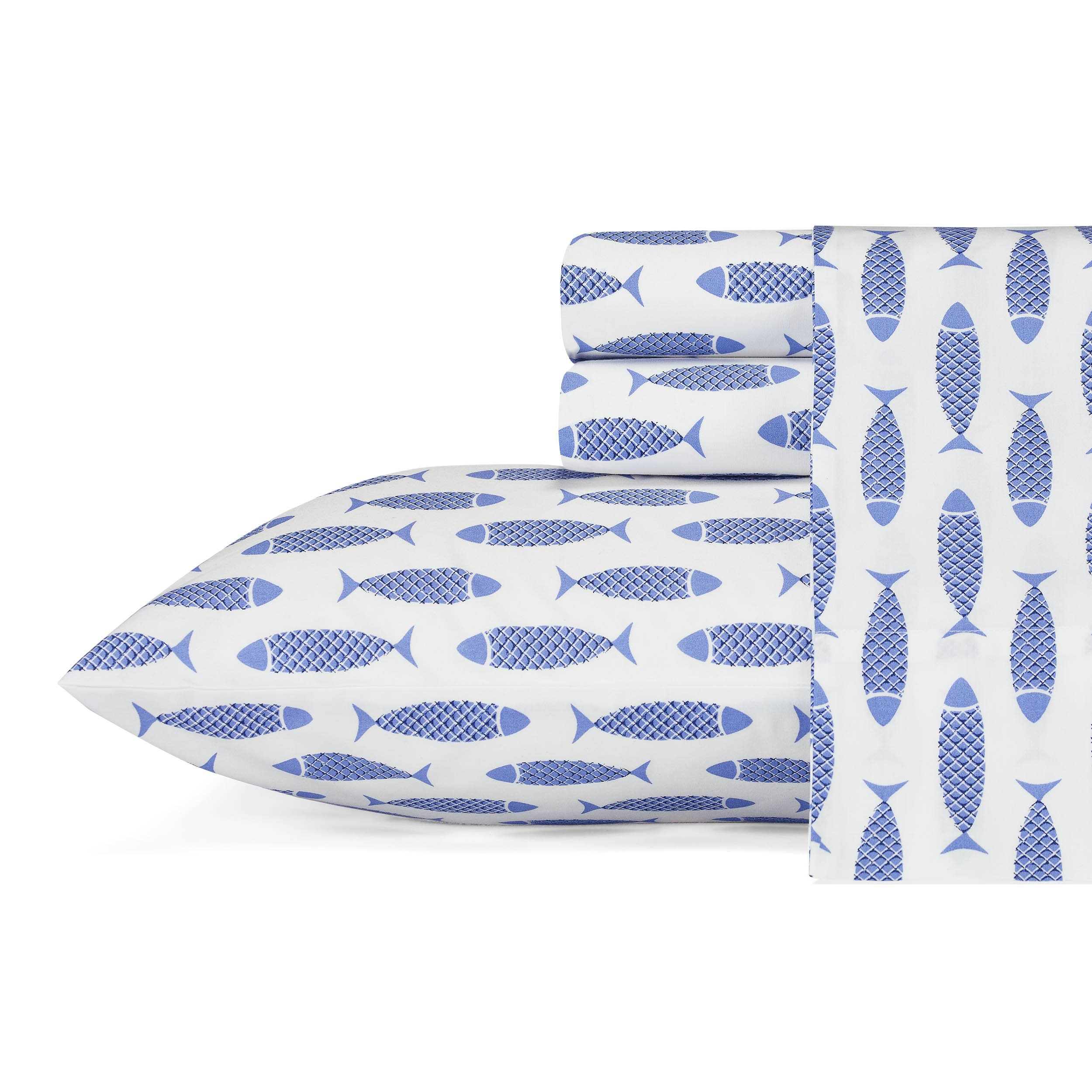Nautica Woodblock Fish Cotton Sheet Set, Queen, Blue