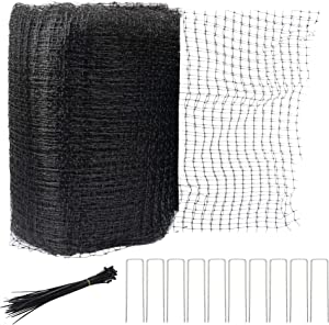 Hourleey Bird Netting, 7 x 100 FT Black Deer Fence Netting Reusable Protective Garden Netting for Vegetables Plants Fruit Trees with 50 Pcs Cable Ties