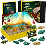 NATIONAL GEOGRAPHIC Dinosaur Play Sand - 907g of Play Sand, 6 Moulds, 6 Dinosaur Figures, A Kinetic Sensory Sand…
