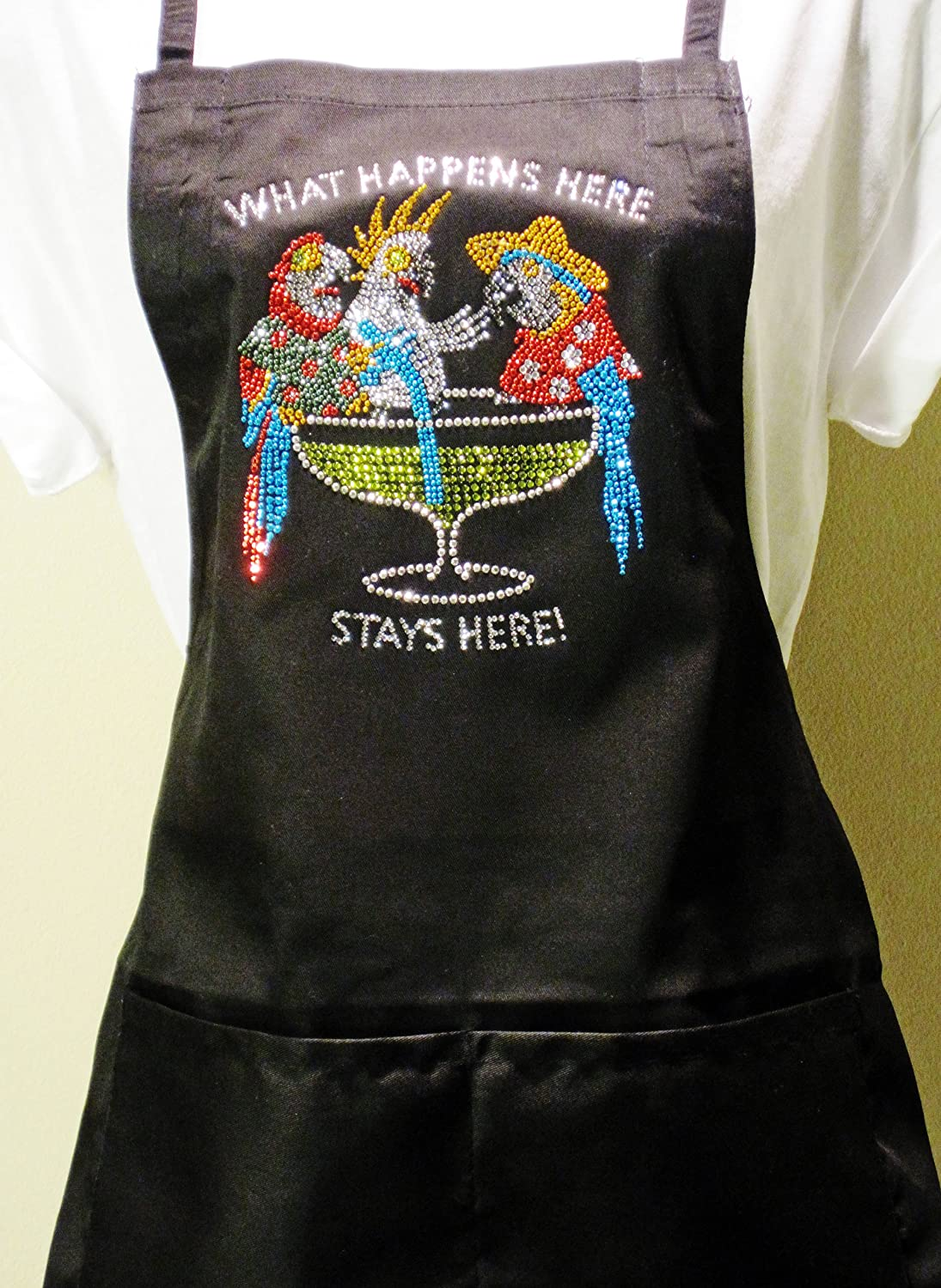What Happens Here Classic Black Apron Rhinestone Poly Blend Two Pocket Apron