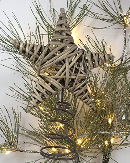 rustic christmas tree topper or wine topper wrapped willow star in weathered gray perfect - Rustic Christmas Tree Topper