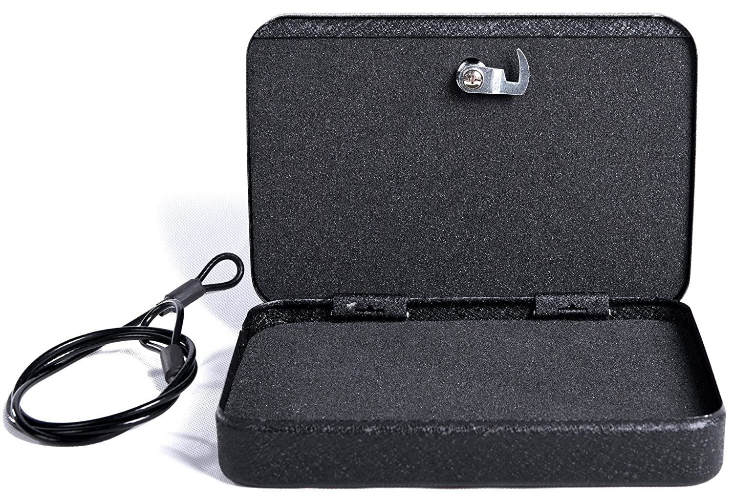Jssmst Lockable Gun Box Pistol Case with Security Cable for Car Safe, Lock Box