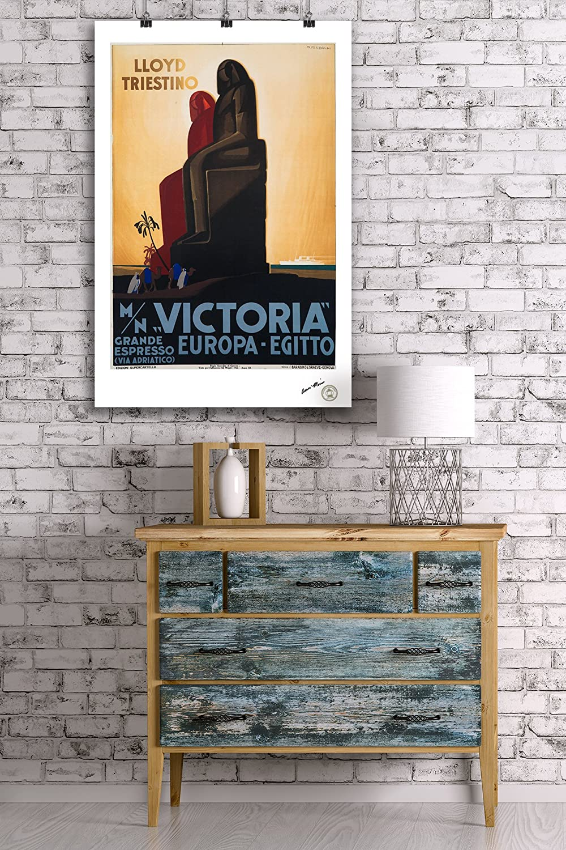 Amazon.com: Victoria - Lloyd Triestino Vintage Poster (artist: Riccobaldi) Italy c. 1931 (12x18 Art Print, Wall Decor Travel Poster): Home & Kitchen