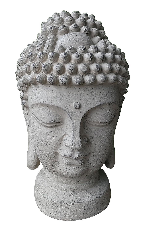 Grande Buddha testa 48x 28x 26cm–Robusto e Resistente Agli Agenti Atmosferici in originale effetto pietra 7even
