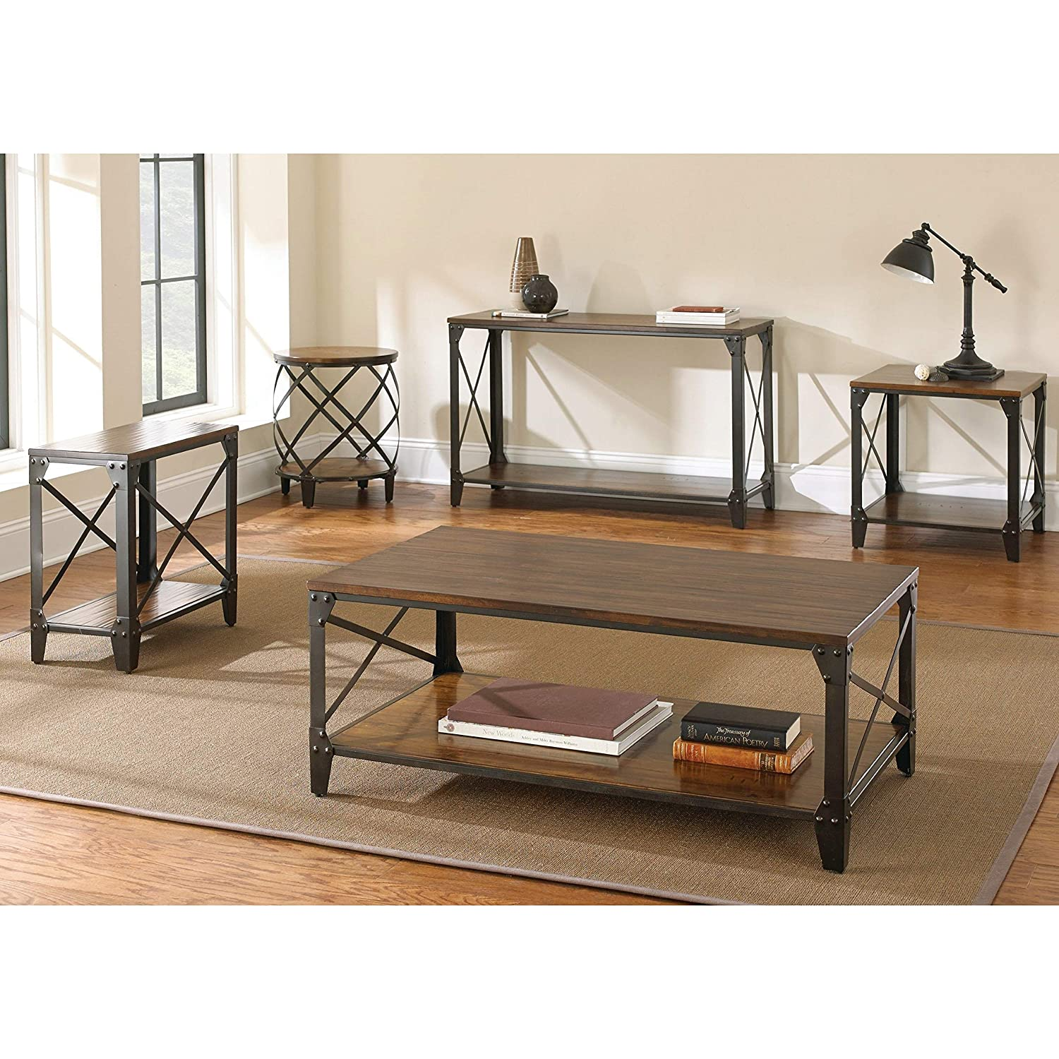 Windham Solid Birch Wood – Iron Contemporary Coffee Table Rustic – Industrial Style