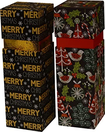 Christmas Wine Bottle Gift Boxes Set Of 2 Different Designs Deluxe Edition