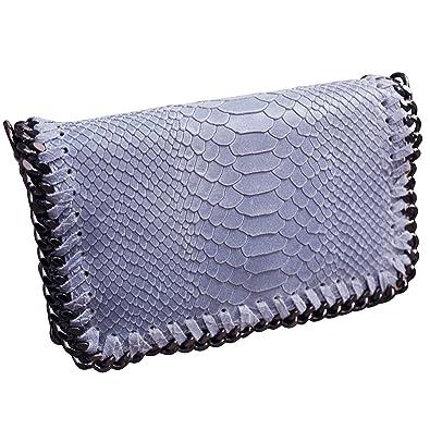 140082d450 FERETI Sac A Main Serpont Bleu Pale Pochette Cuir Bandoulière Femme Chaîne  Serpent