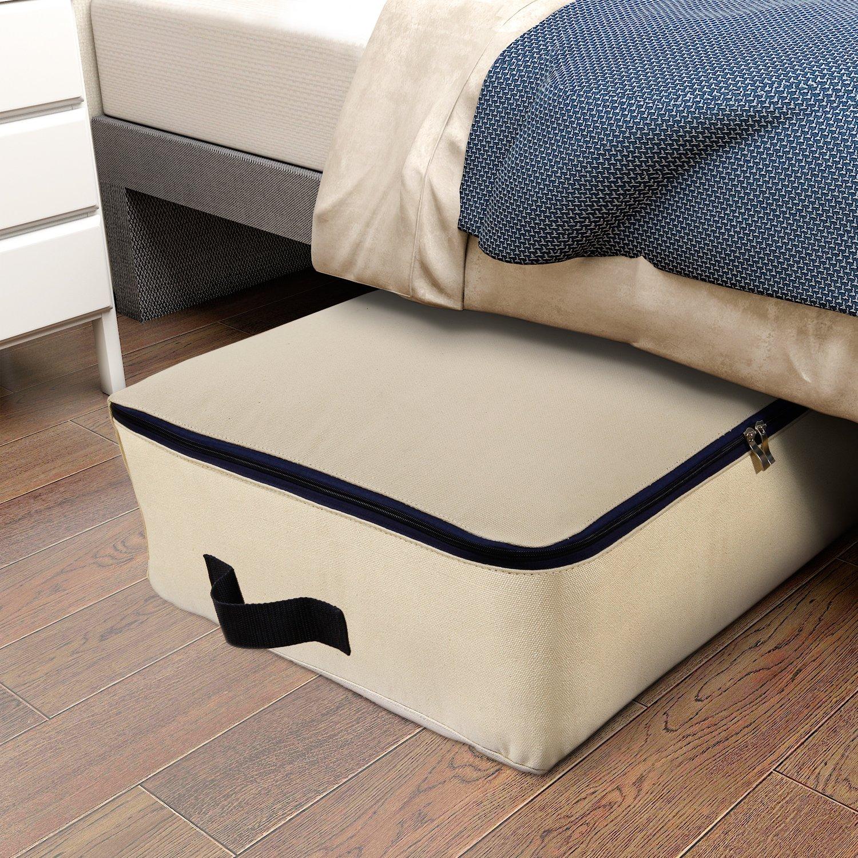 Lifewit Cotton Canvas Foldable Under Bed Storage Bags For Comforters,  Blanket, Bedding, Duvet
