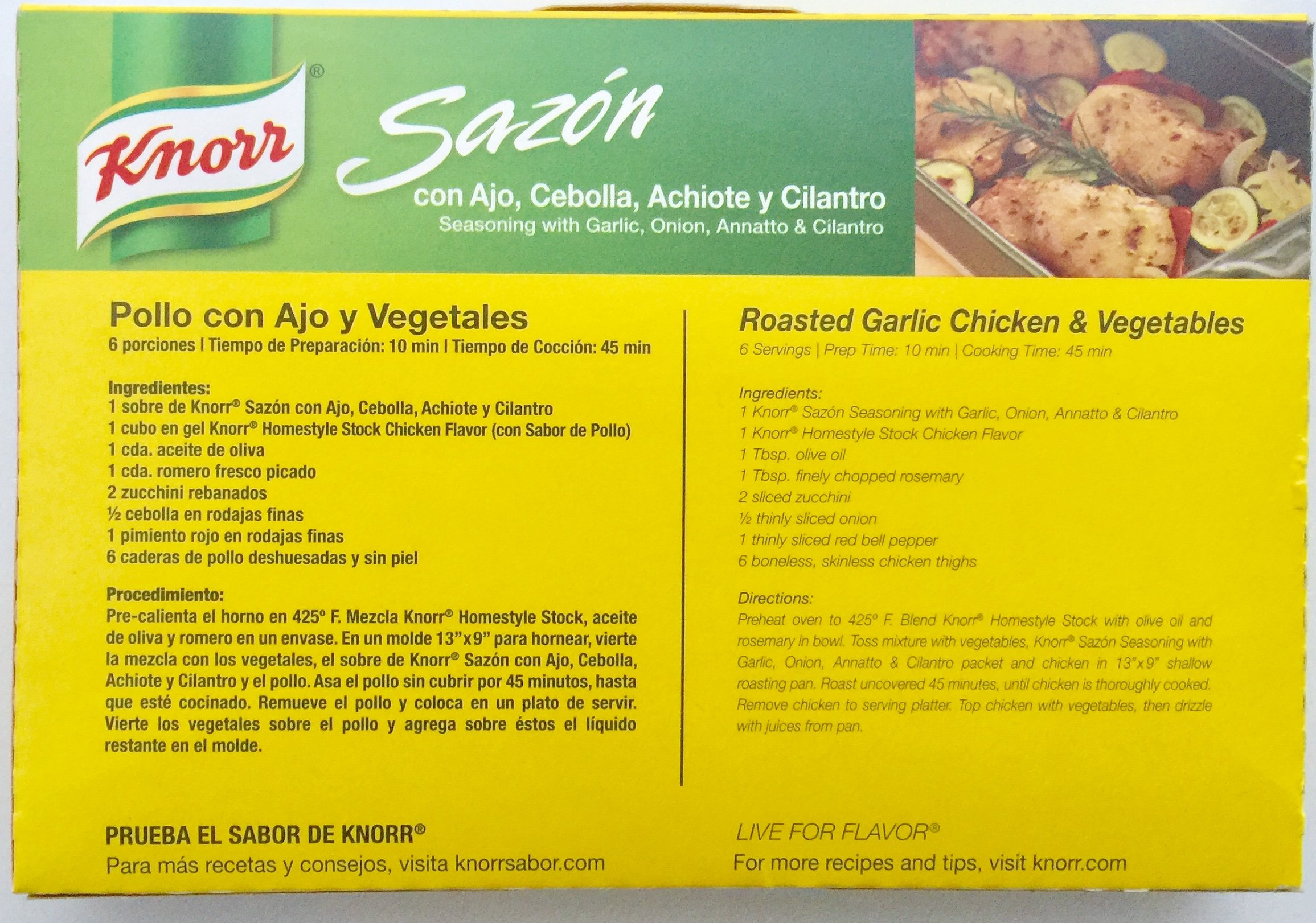 Knorr Sazon Seasoning, Garlic Onion Annatto and Cilantro 2.8 oz, 16 ct
