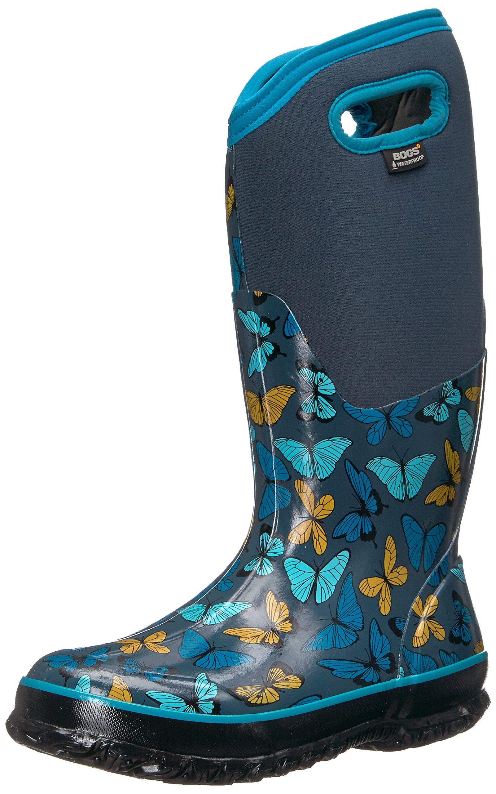 Bogs Women's Classic Butterflies Snow Boot, Navy Multi, 7 M US by Bogs