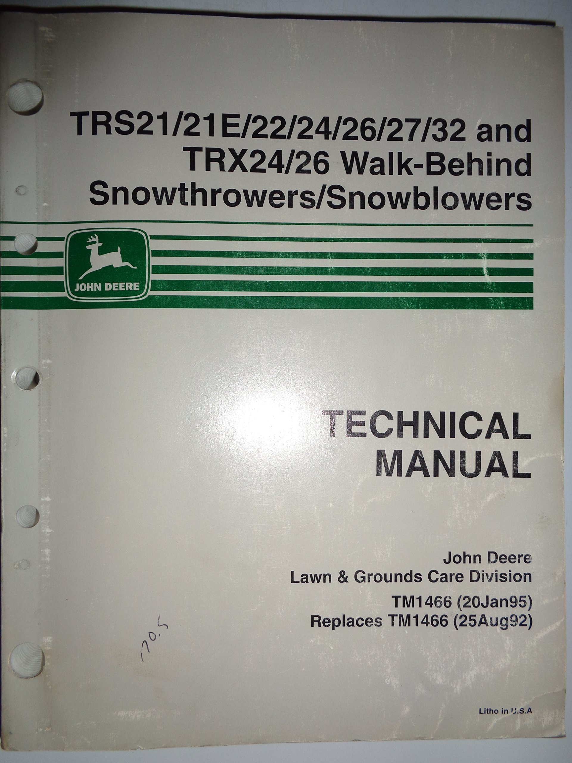 John Deere TRS21/21E TRS22/24/26/2732 and TRX24 TRX26 Snowblower  Snowthrower Technical Service Manual 1/95: Deere, John Deere: Amazon.com:  Books
