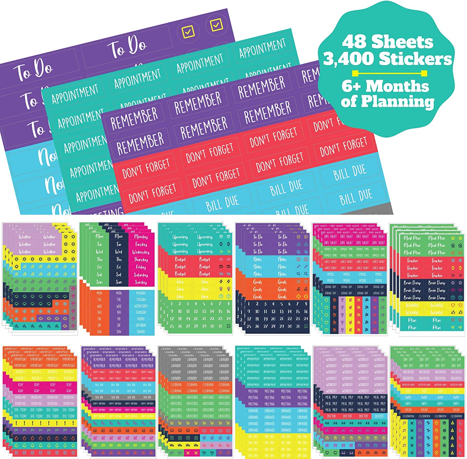 Functional Stickers Multi Color Matte Removable Labels M0044 || Bundle of 6 Sheets of Mini Date Flag Planner Stickers