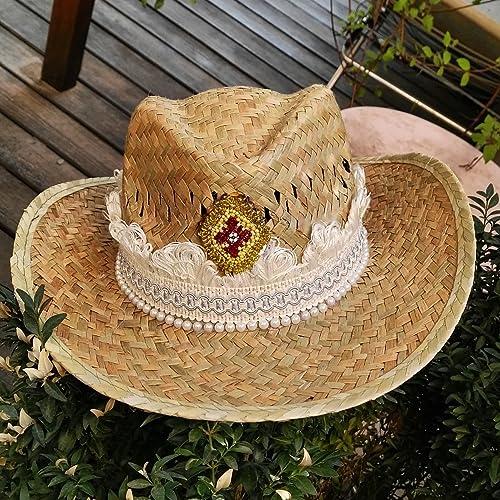 Sombrero étnico hippie-chic de playa con detalles de cintas en color crudo fadeb966ce1