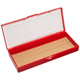 Heathrow Scientific HD15996B Red Cork Lined 50 Place Microscope Slide Box, 8.3