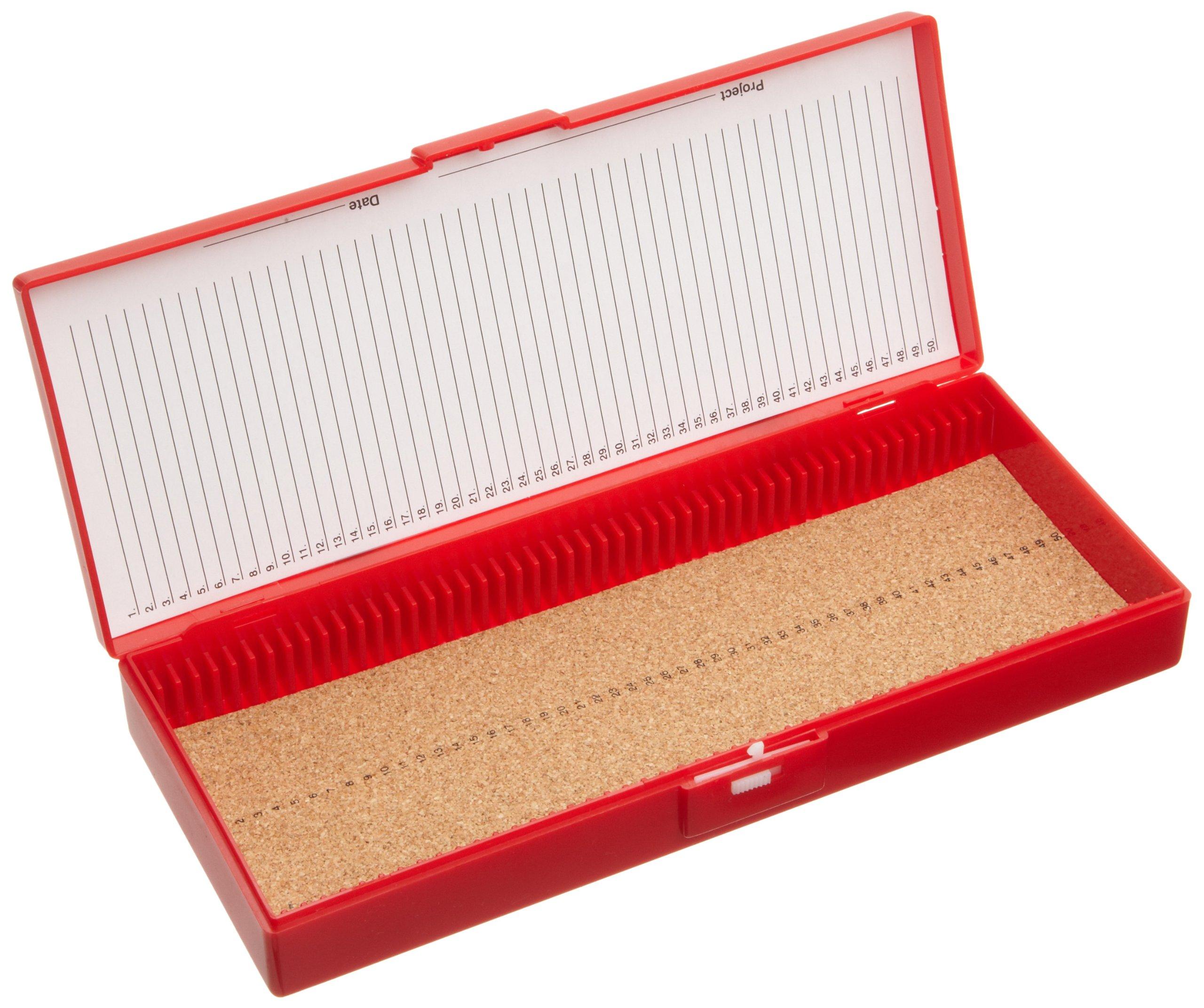 Heathrow Scientific HD15996B Red Cork Lined 50 Place Microscope Slide Box, 8.3'' Length x 3.38'' Width x 1.25'' Height