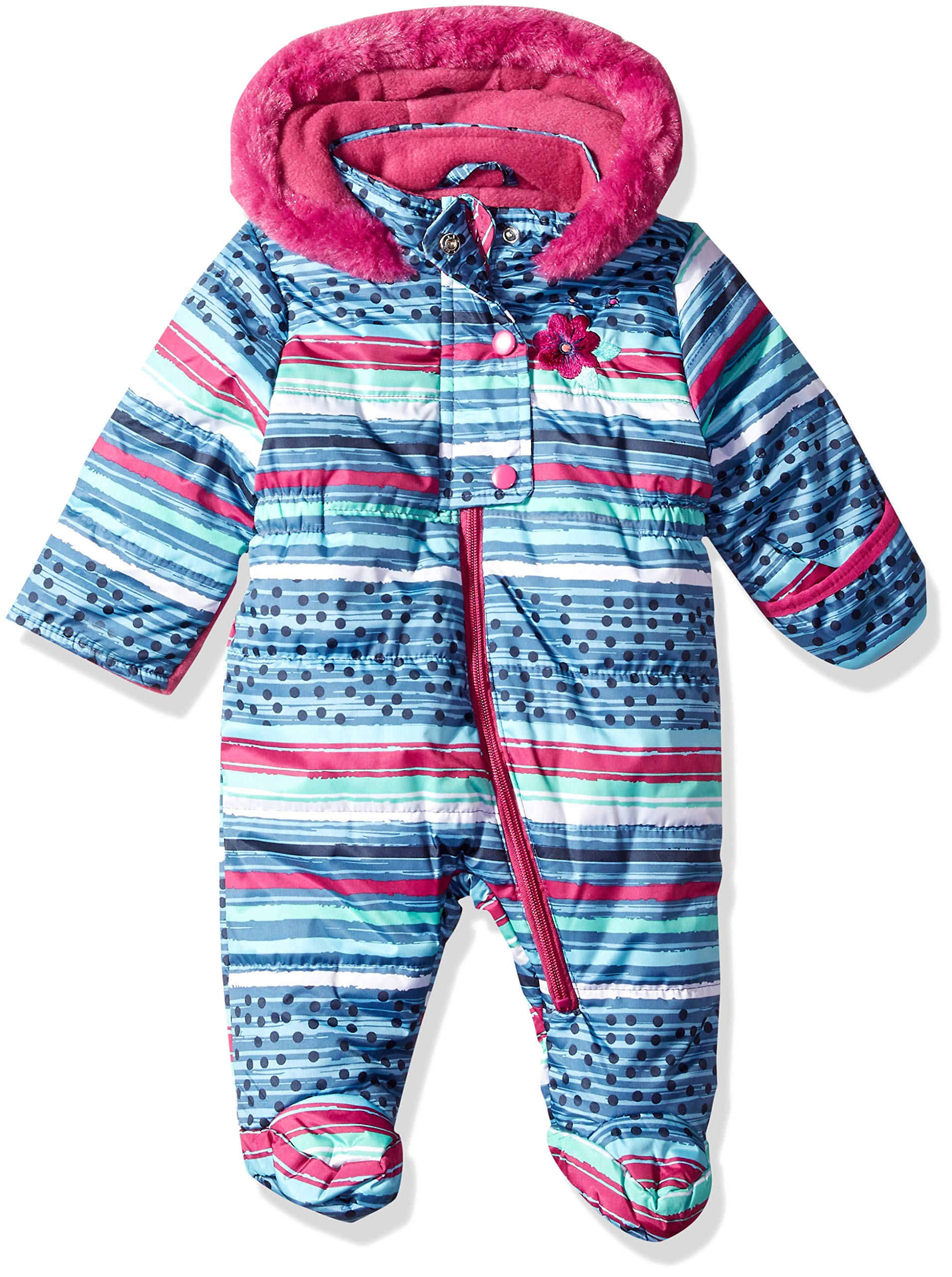 Wippette Baby Girls Striped Snowsuit Pram, Plum, 6/9M by Wippette