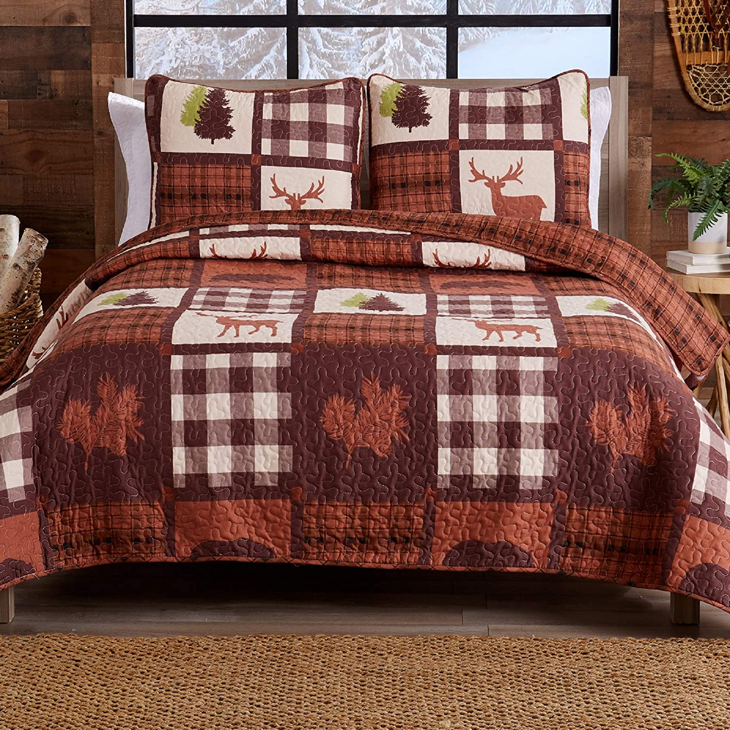 Lodge Bedspread King Size Quilt with 2 Shams. Cabin 3-Piece Reversible All Season Quilt Set. Rustic Quilt Coverlet Bed Set. Stonehurst Collection. (Chocolate/Green)
