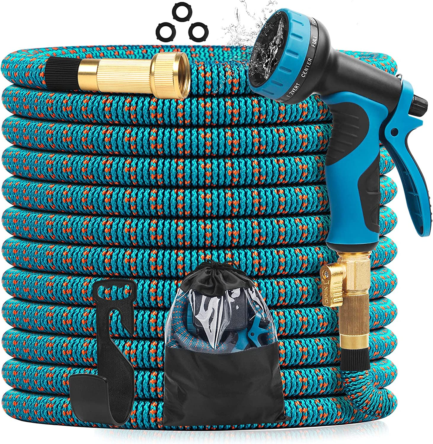 Scamona Expandable Garden Hose 100ft - Flexible Hose with 10-Way Spray Nozzle - Durable 3 Layer Latex & Extra Strength 3750D Polyester Fabric - 3/4 Inches Solid Brass Fitting Retractable Hose Pipe