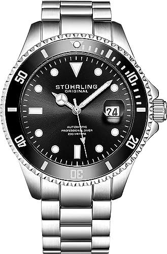 photo montre homme noir acier plongée