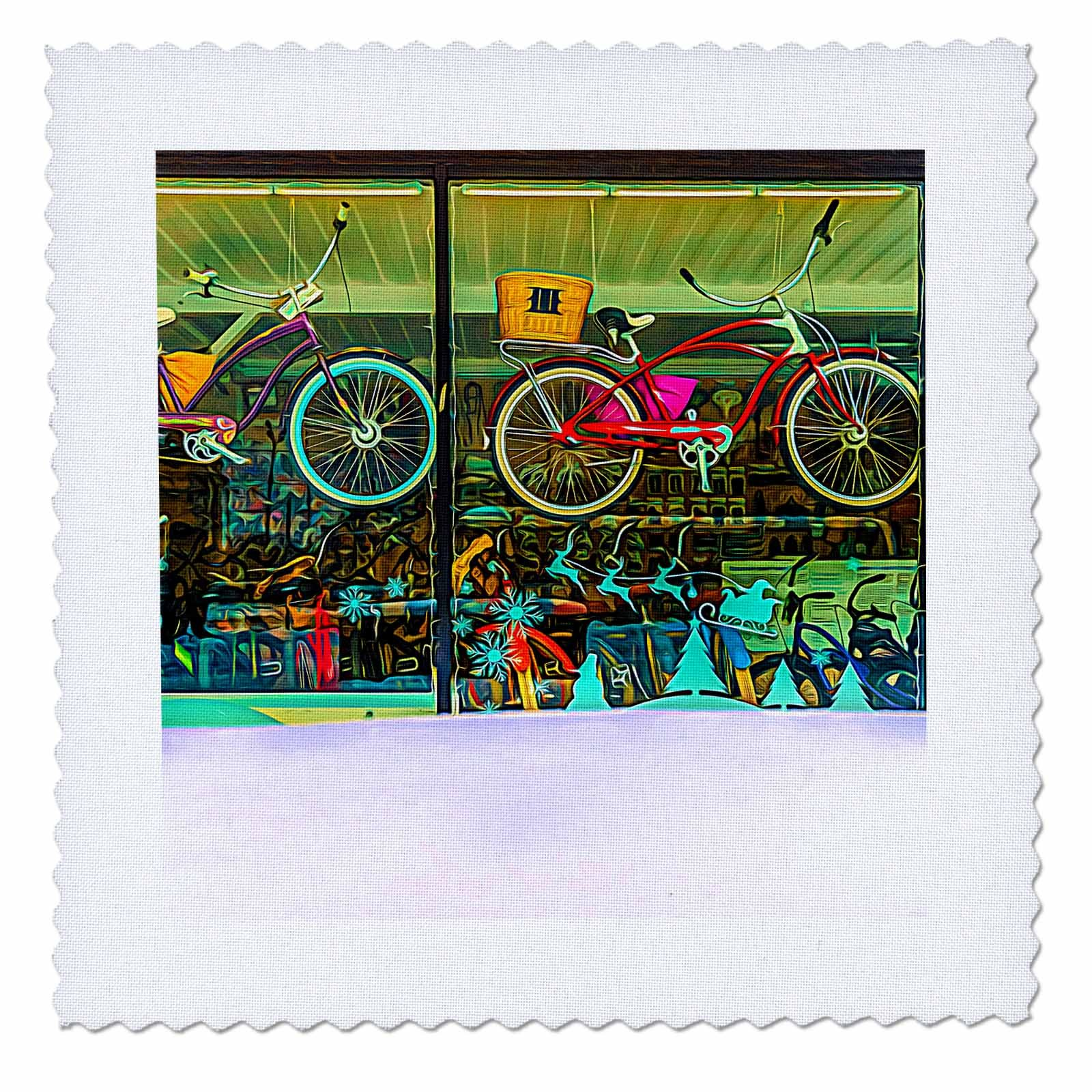 3dRose Alexis Photo-Art - Moscow City - Colorful bicycles behind the shop window. Snow bank to the fore - 22x22 inch quilt square (qs_272328_9)