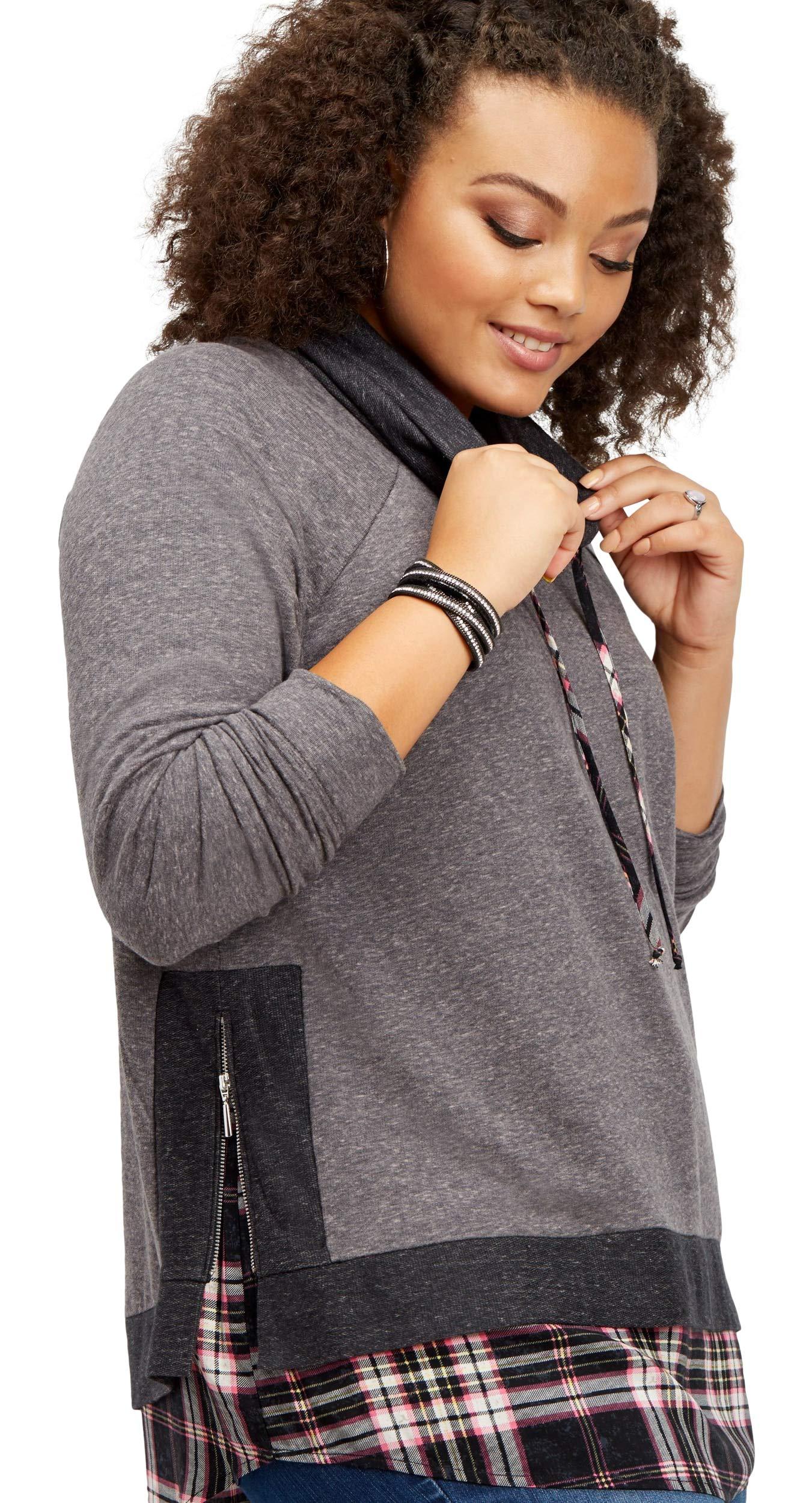 maurices Women's Plus Size Plaid Cowl Neck Sweatshirt 3 Gray