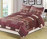 HowPlum Twin Quilt Red Plaid Patchwork Bedspread