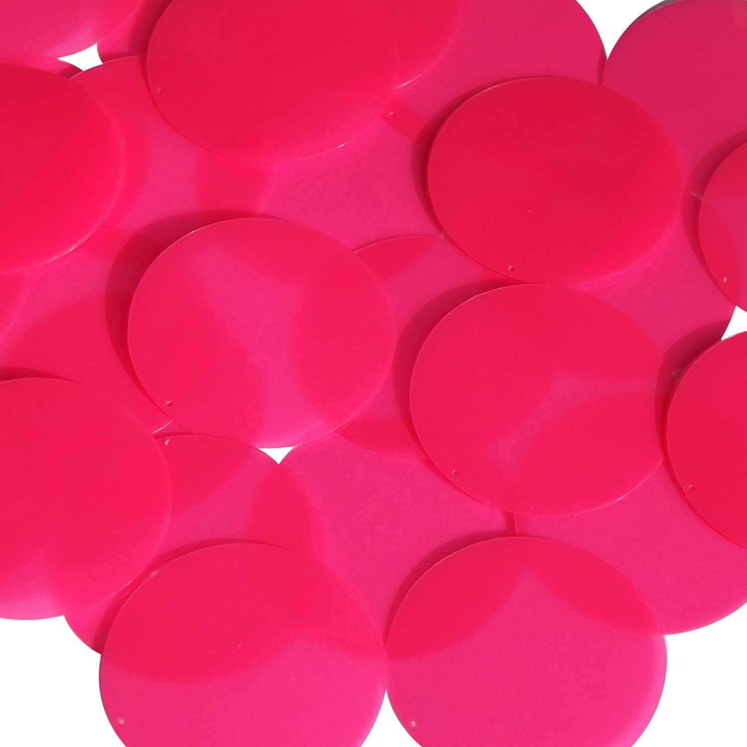 Round Sequin 40mm Pink Fluorescent Transparent Glossy and Matte Duo Two Sided Couture Paillettes