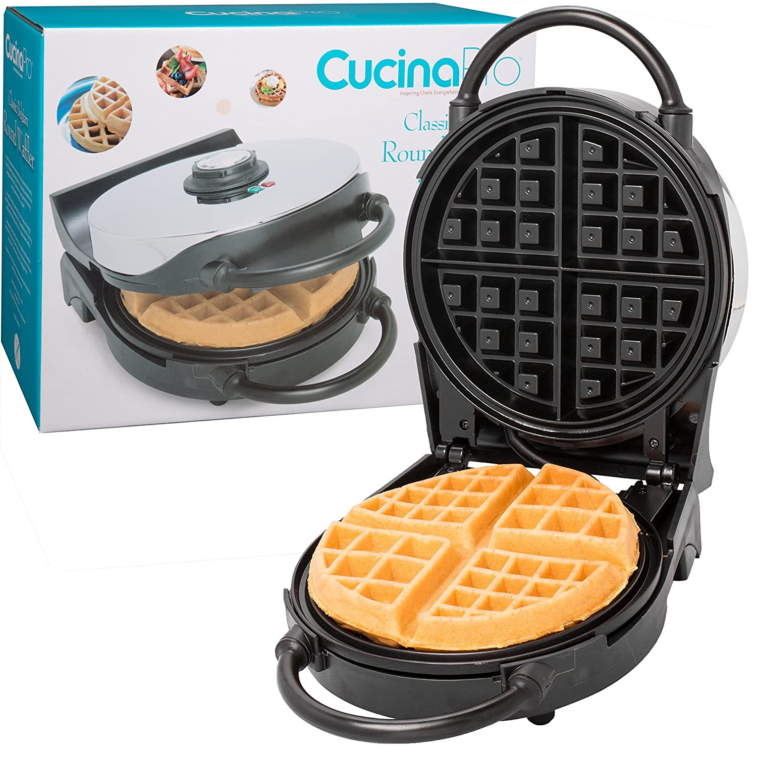 Belgian Waffle Maker- Non-Stick 7.5 Waffler Iron w Patented Ready Beep and Adjustable Browning Control