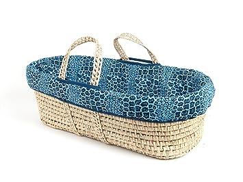 Tadpoles Moses Basket and Bedding Set Blue Navy Leopard