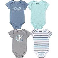 CALVIN KLEIN Baby Boys 4 Pieces Pack Bodysuits, red/Black/White, 12M