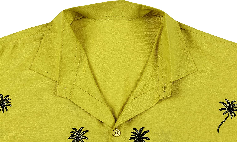 talla XS liso manga corta bolsillo delantero Manga corta para hombre 7XL La Leella playa de palmeras hawaiian-imprimer bordado.