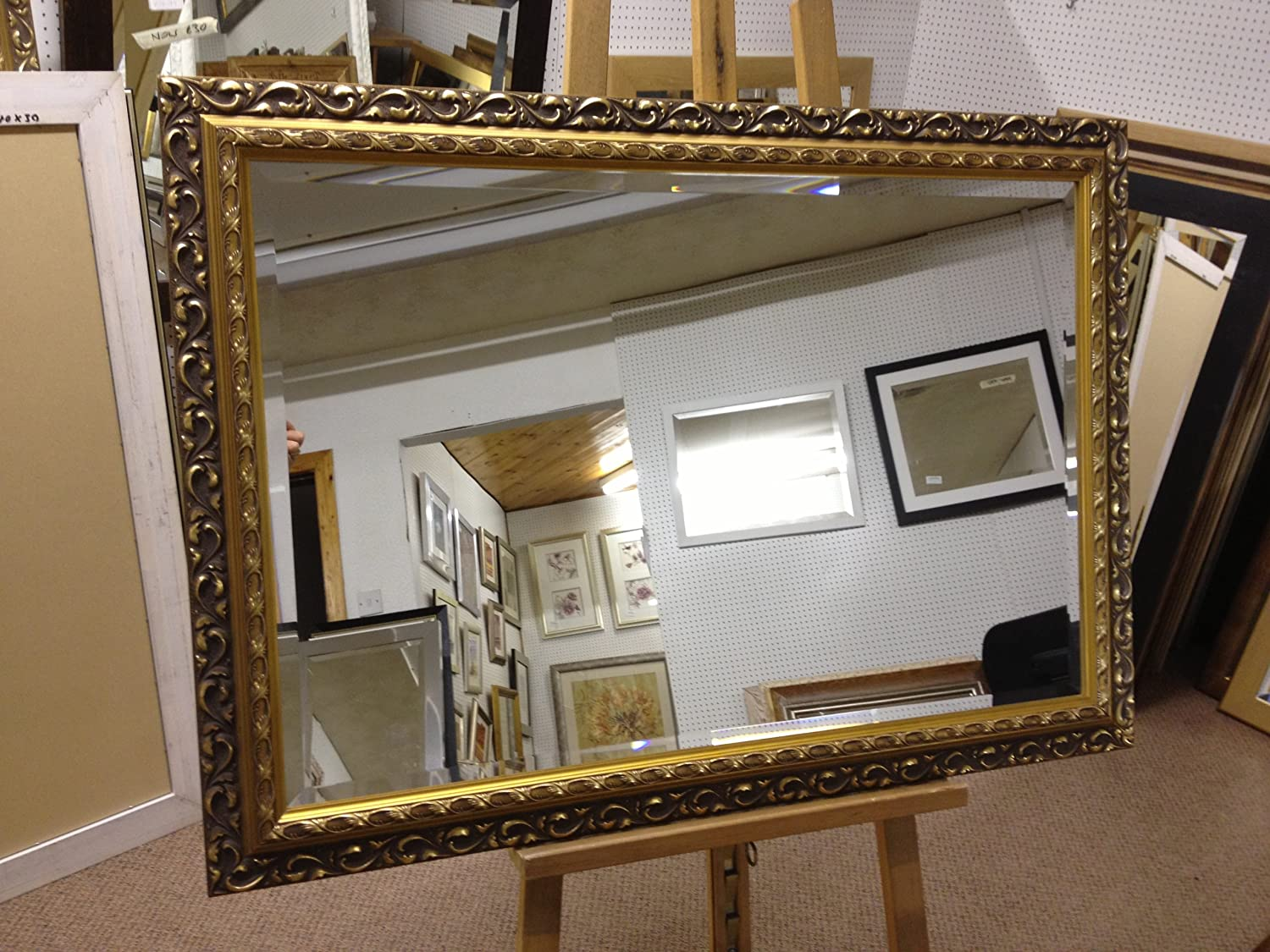 NEW ORNATE GOLD SHABBY CHIC STYLE WALL OVERMANTLE MIRROR - VARIOUS (Bevel Mirror Glass, 21