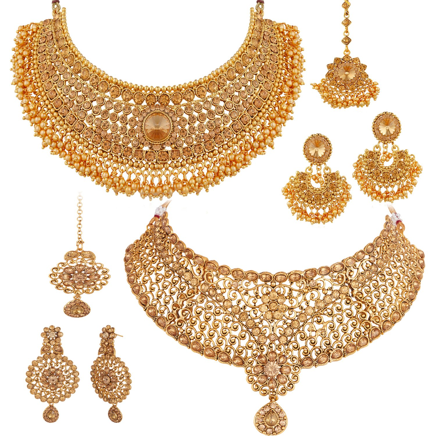 Apara Bridal Pearl Lct Stones Gold Necklace Set Jewellery: Best Rated In Women's Jewellery Sets & Helpful Customer