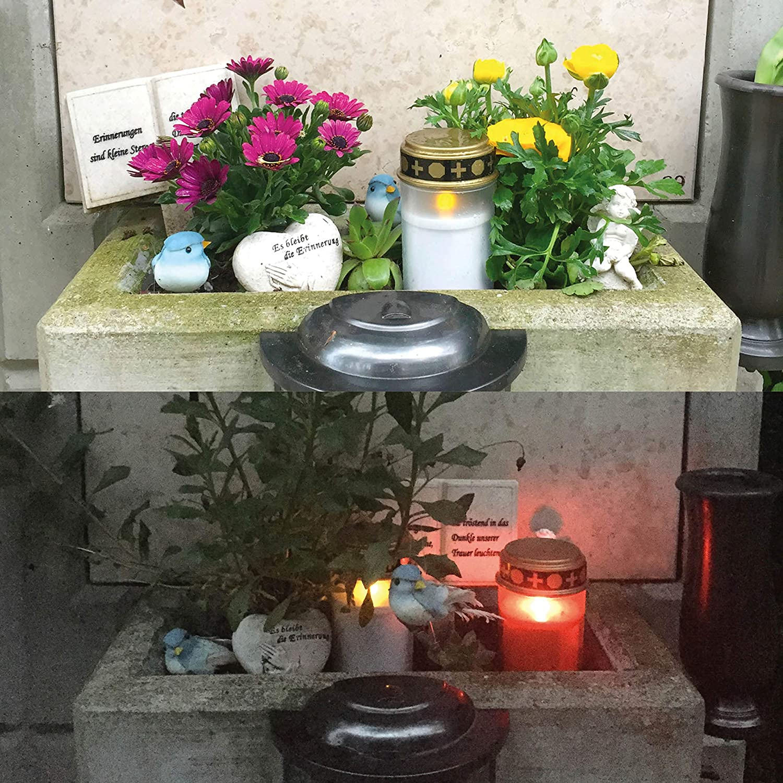 LED Grabkerze mit realistischem Flackereffekt KELOPEST/® LED Grablicht rot mit Batterie und 6 Monaten Leuchtdauer
