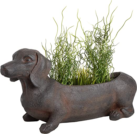 CKB Ltd® Maceta florero de estilo rústico marrón de perro salchicha para jardín – exterior interior largo de la novedad macetero para plantas hierbas de temporada 62 x 25,5 x 35,5 cm: Amazon.es: Hogar