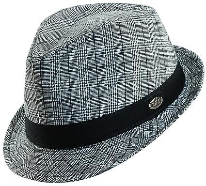 5f561d060 Dorfman Pacific PLAID LINEN FEDORA HAT (M, BLACK) at Amazon Men's ...