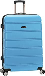 Rockland Melbourne Hardside Expandable Spinner Wheel Luggage, Turquoise/Aqua, Checked-Large 28-Inch