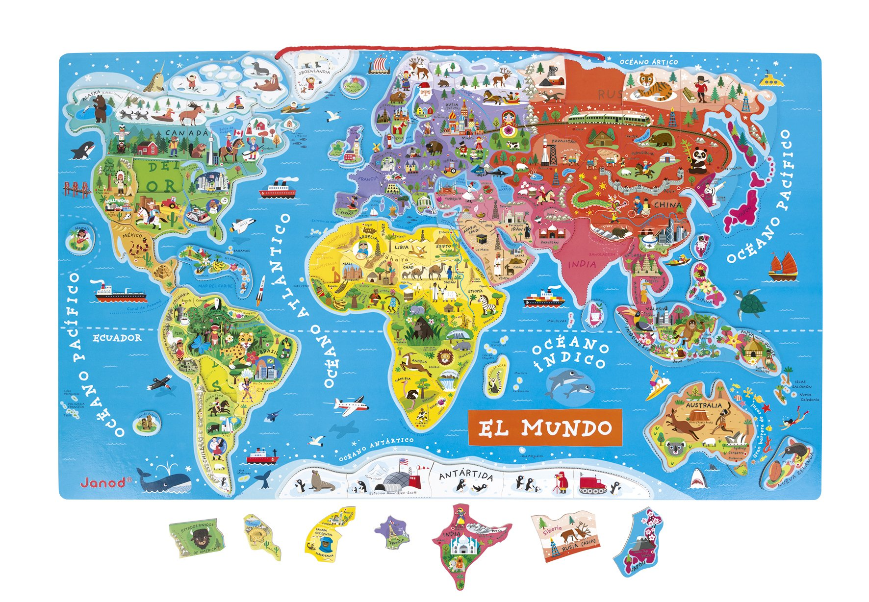 Janod Spanish Version Magnetic World Map by Janod (Image #2)