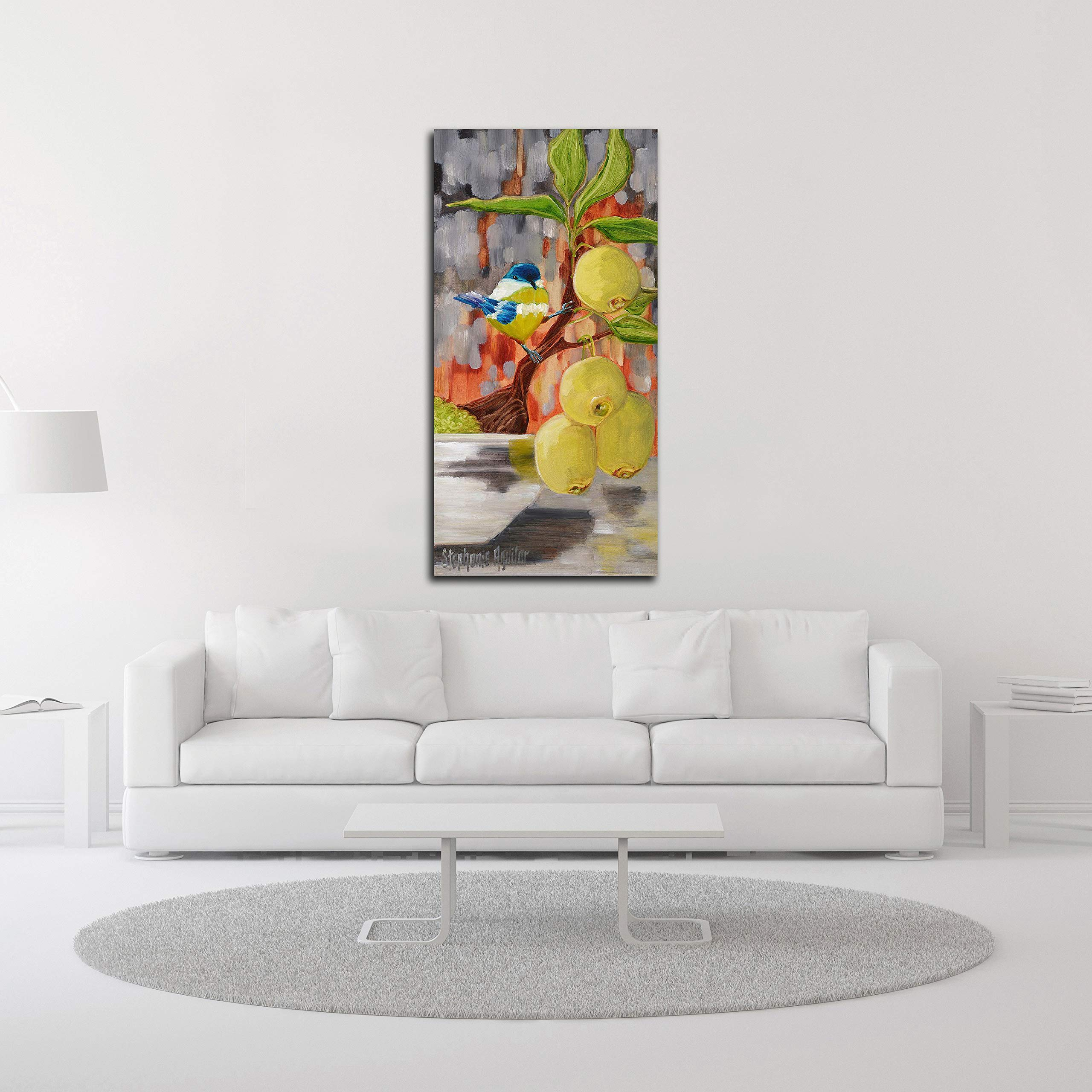 Tangletown Fine Art Chickadee with Bonsai Canvas Art 23x47 Gray, Green, Blue by Tangletown Fine Art (Image #3)