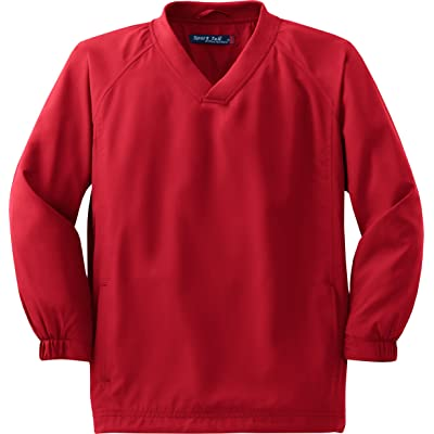 Sport-Tek - Youth V-Neck Raglan Wind Shirt. YST72 - X-Small - True Red