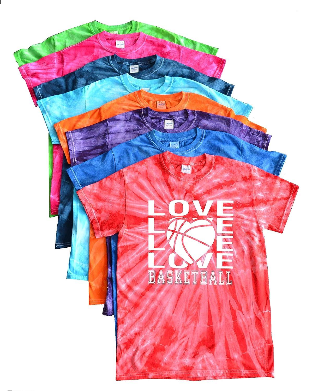 バスケットボールTie Dye Tシャツ – Loveバスケットボールロゴ B01DH6CMA4 パープル Youth Large (14 - 16)