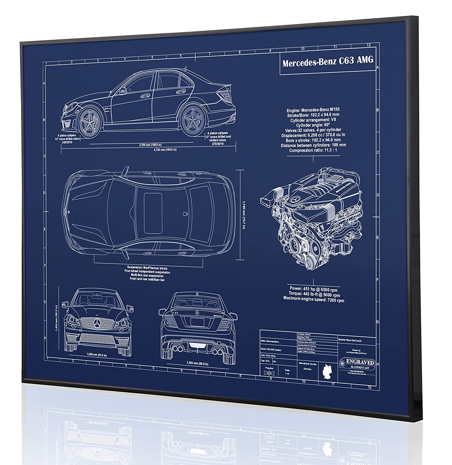 Amazon.com: Mercedes-Benz C63 AMG Sedan Blueprint Artwork-Laser Marked &  Personalized-The Perfect Mercedes-Benz Gifts: Handmade