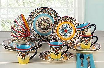 euro ceramica zanzibar 16 piece dinnerware set multicolor - Dishware Sets
