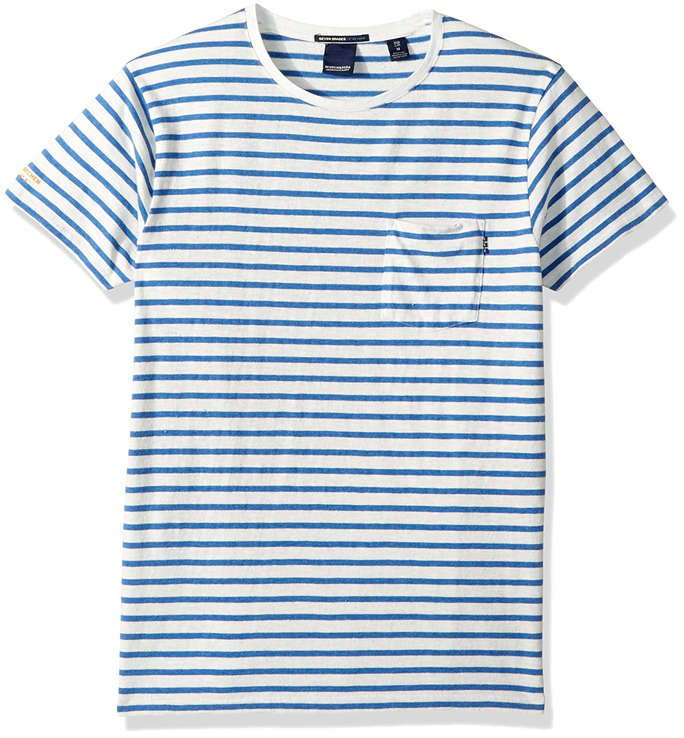 Scotch & Soda Men's AMS Blauw 1 Pocket Regular fit Colourot Striped tee, Combo el, XXL