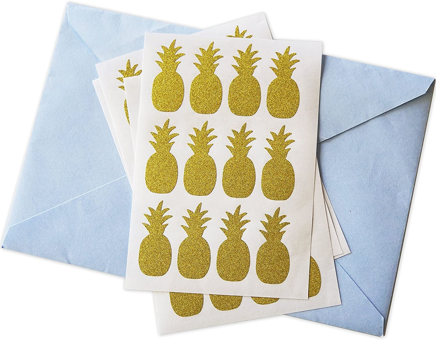 Gold Pineapple Glitter Stickers