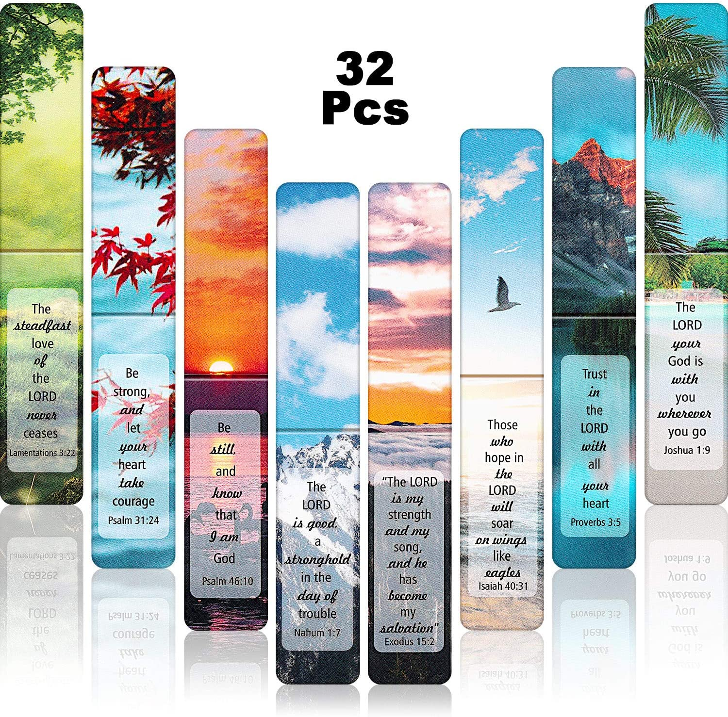 32 Pieces Inspirational Bookmarks Magnetic Nature Scenery Magnetic Page Markers Page Clips Bookmarks for Students Teachers School Home Office Supplies