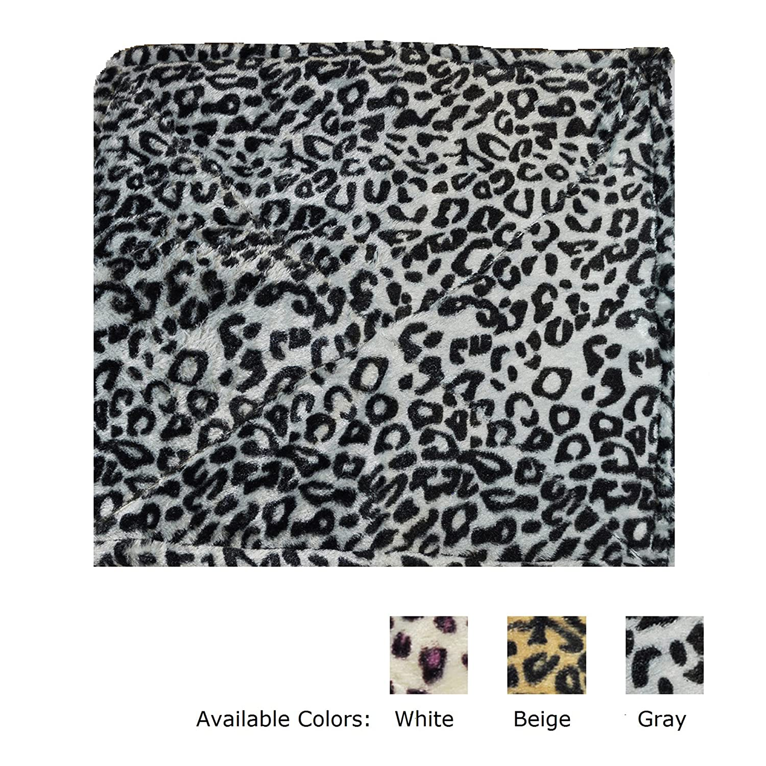 Thermal Cat Pet Dog Warming Bed Mat - BEIGE, BLUE, or GREY (Leopard Motif) 22 L x 19 W, by Downtown Pet Supply (White) by Downtown Pet Supply WhiteThermalDTPS