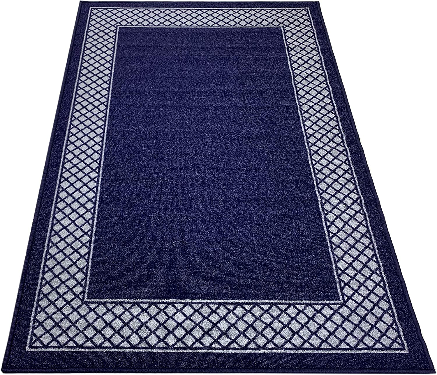 Pinoletti Border Design Printed Slip Resistant Rubber Back Latex Runner Rug and Area Rugs (Royal Navy Blue Navy Blue, 3'3