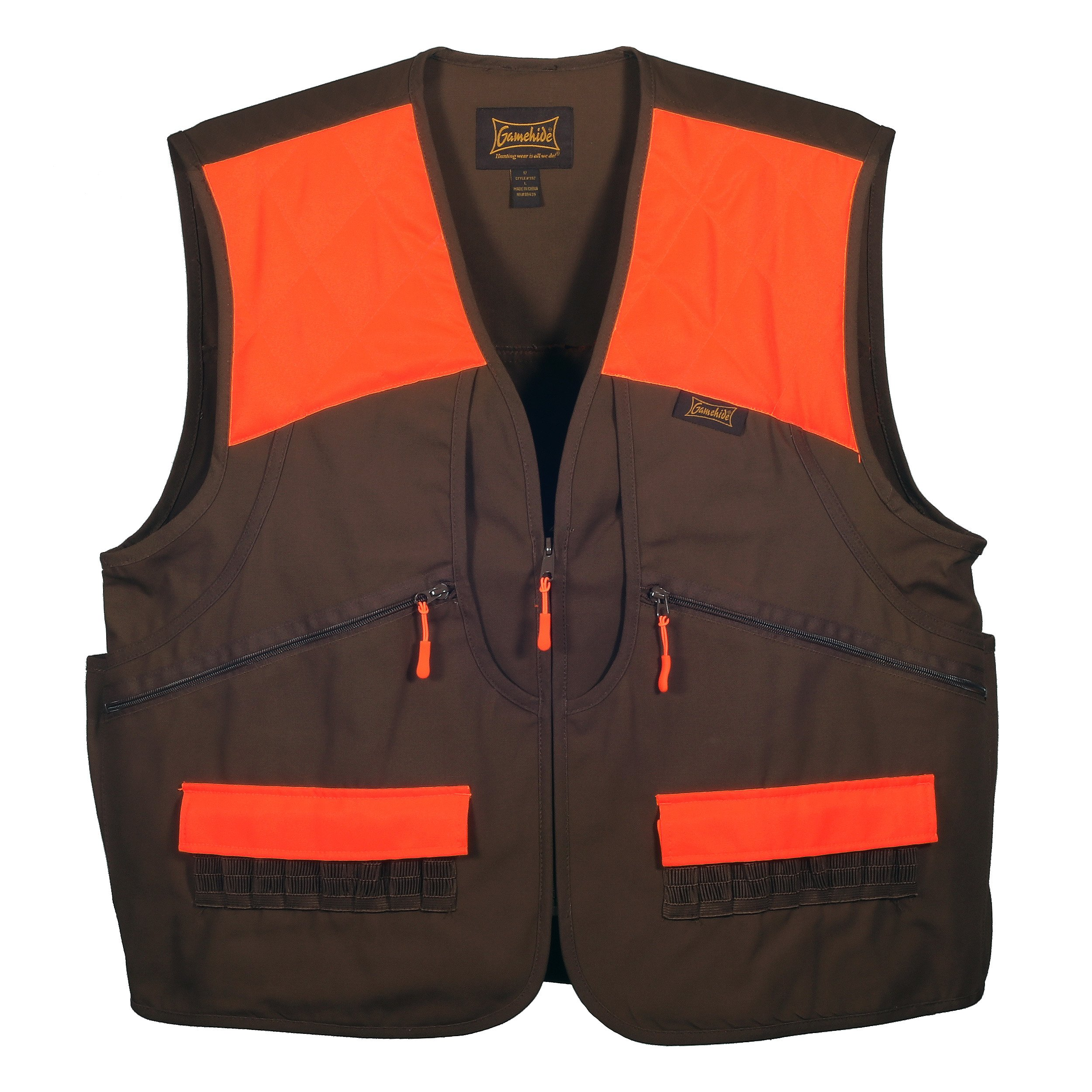 Gamehide Switchgrass Upland Field Bird Hunting Vest (Chestnut Brown/Orange, 2X-Large) by Gamehide